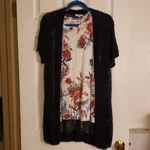 Maurices sleeveless shirt with matching cardigan